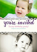 Invited Purple Birthday Party Invitations Flat Cards - Front