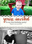 Invited Red Birthday Party Invitations Flat Cards - Front