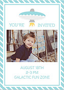 Rocketship Blue Birthday Party Invitations Flat Cards - Back