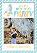 Rocketship Blue Birthday Party Invitations Flat Cards - Front