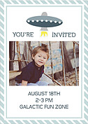 Rocketship Blue-Gray Birthday Party Invitations Flat Cards - Back