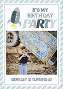 Rocketship Blue-Gray Birthday Party Invitations Flat Cards - Front