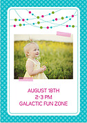 Polka Chic Turquoise Birthday Party Invitations Flat Cards - Back