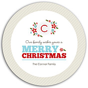 Family Wishes Beige Circle Christmas Flat Cards - Back