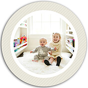 Family Wishes Beige Circle Christmas Flat Cards - Front