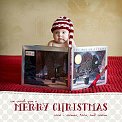 Subtle Polka Beige Square Christmas Flat Cards - Front