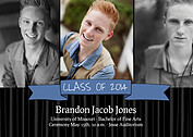 Bold Banner Blue Graduation Flat Cards - Front