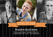 Bold Banner Orange Graduation Flat Cards - Front
