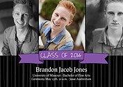 Bold Banner Purple Graduation Flat Cards - Front