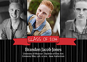 Bold Banner Red Graduation Flat Cards - Front