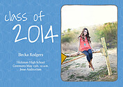 Class of Blue Graduation Flat Cards - Front