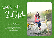 Class of Green Graduation Flat Cards - Front