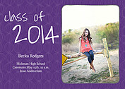Class of Purple Graduation Flat Cards - Front