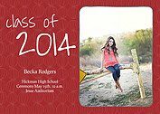 Class of Red Graduation Flat Cards - Front