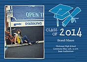 Stately Stripes Blue Graduation Flat Cards - Front