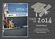 Stately Stripes Charcoal Graduation Flat Cards - Front