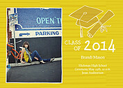 Stately Stripes Gold Graduation Flat Cards - Front
