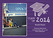 Stately Stripes Purple Graduation Flat Cards - Front