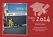Stately Stripes Red Graduation Flat Cards - Front