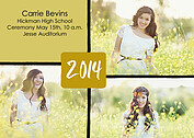 Triple Pane Gold Graduation Flat Cards - Front