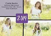 Triple Pane Purple Graduation Flat Cards - Front