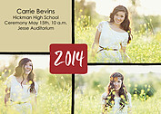 Triple Pane Red Graduation Flat Cards - Front