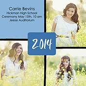 Triple Pane Blue Square Graduation Flat Cards - Front