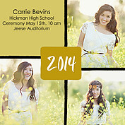Triple Pane Gold Square Graduation Flat Cards - Front