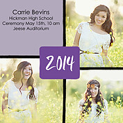 Triple Pane Purple Square Graduation Flat Cards - Front
