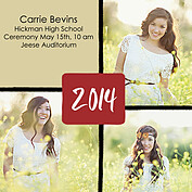 Triple Pane Red Square Graduation Flat Cards - Front