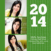 Dotted Collage Green Square Graduation Flat Cards - Front