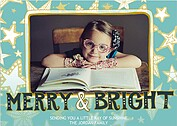 Merry Bright Stars Teal - Front