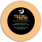 Spooky Time Orange Circle Halloween Flat Cards - Back