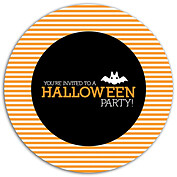 Spooky Time Orange Circle Halloween Flat Cards - Front