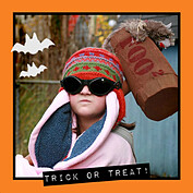 Halloween Wish Orange Square - Back