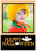 Batty Tricks Orange Halloween Flat Cards - Front