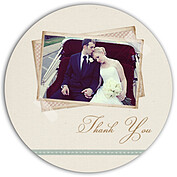 Neutral Script Circle Thank You Flat Cards - Front