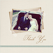 Neutral Script Square Thank You Flat Cards - Front