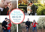 Dotted Circles Red Save the Date Flat Cards - Front