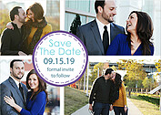 Dotted Circles Purple Save the Date Flat Cards - Front