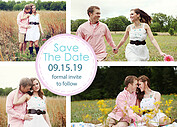 Dotted Circles Pale Pink Save the Date Flat Cards - Front