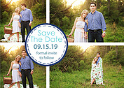 Dotted Circles Navy Save the Date Flat Cards - Front