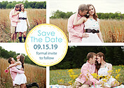 Dotted Circles Yellow Save the Date Flat Cards - Front
