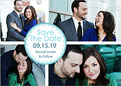 Dotted Circles Aqua Save the Date Flat Cards - Front