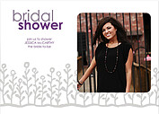 Flower Garden Shower Gray Purple Shower Invites Flat Cards - Front