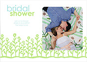 Flower Garden Shower Blue Green Shower Invites Flat Cards - Front
