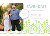 Flower Garden Date Blue Green Save the Date Flat Cards - Front