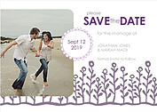Flower Garden Date Gray Purple Save the Date Flat Cards - Front