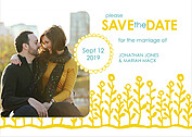 Flower Garden Date Yellow Teal Save the Date Flat Cards - Front