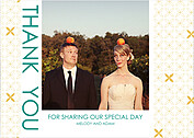 Criss Cross Thanks Gold Thank You Flat Cards - Front